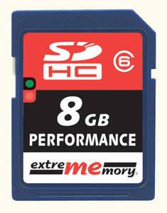 8 GB SDHC Speicherkarte CLASS 6, max 20 MB/SEC die Superschnelle 412684