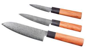3 Damast Messer Set, 17 cm/ 12 cm/ 8 cm mit Palisanderholzgriff 432609